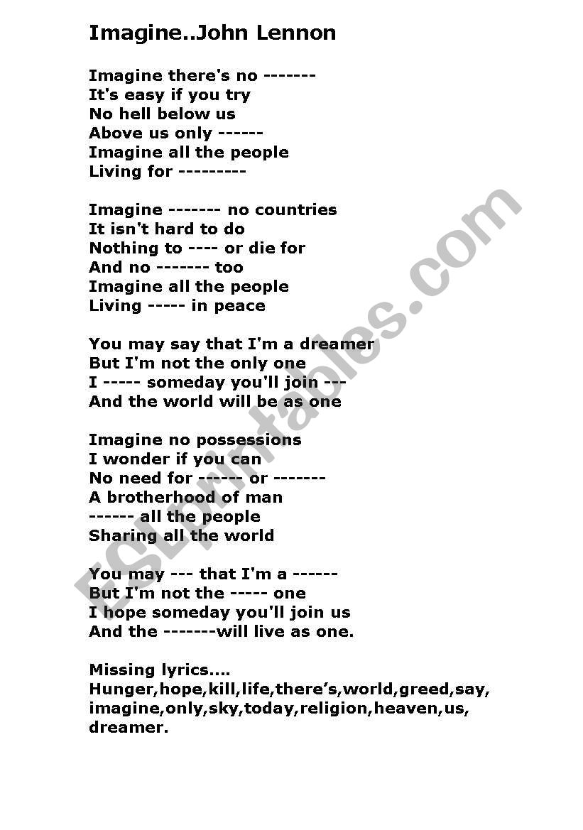 Imagine John Lennon - ESL worksheet by bill24