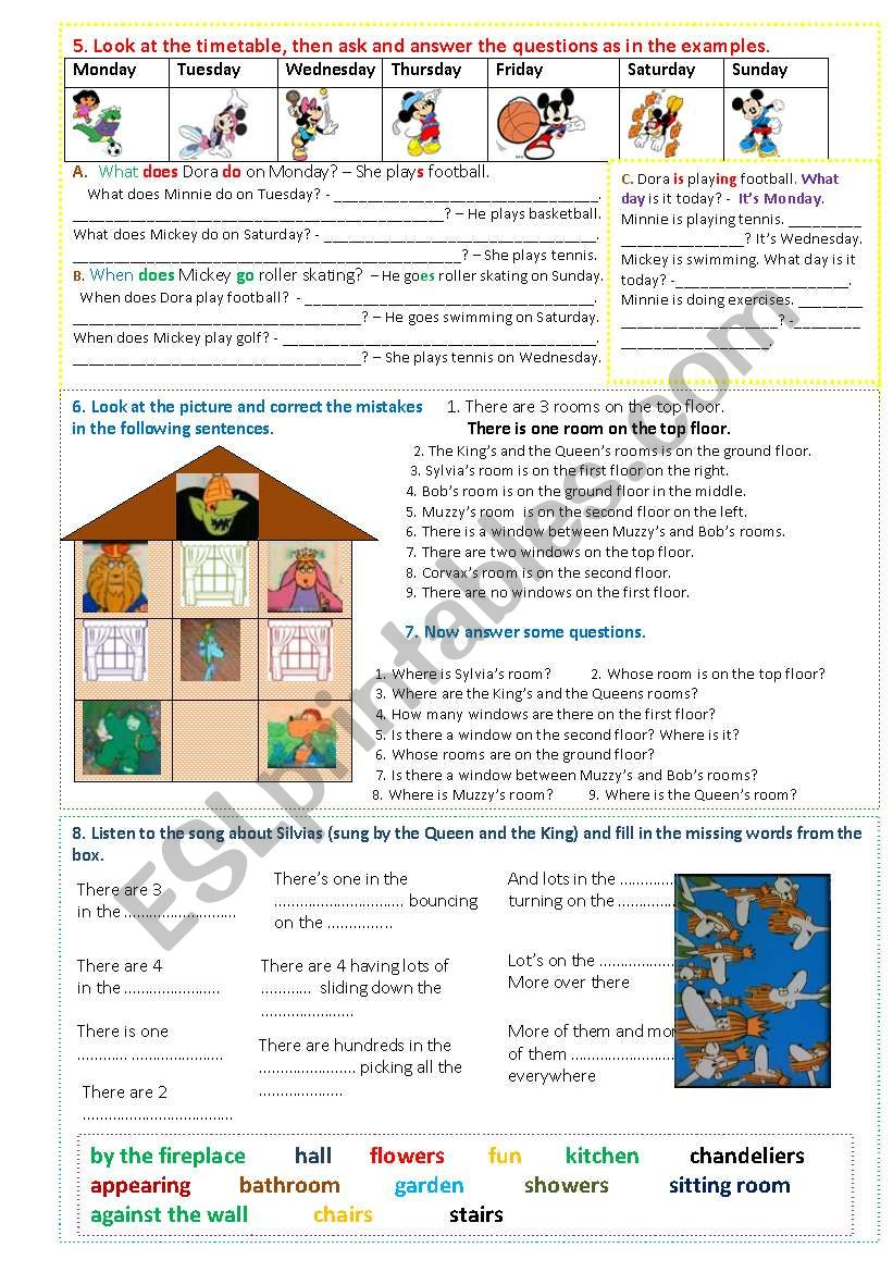 Muzzy in Gondoland - part 5 - 8 tasks - 2 pages