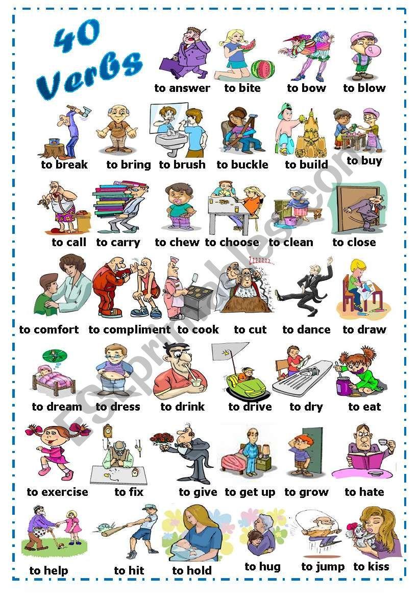 Find 40 verbs (1/2) worksheet