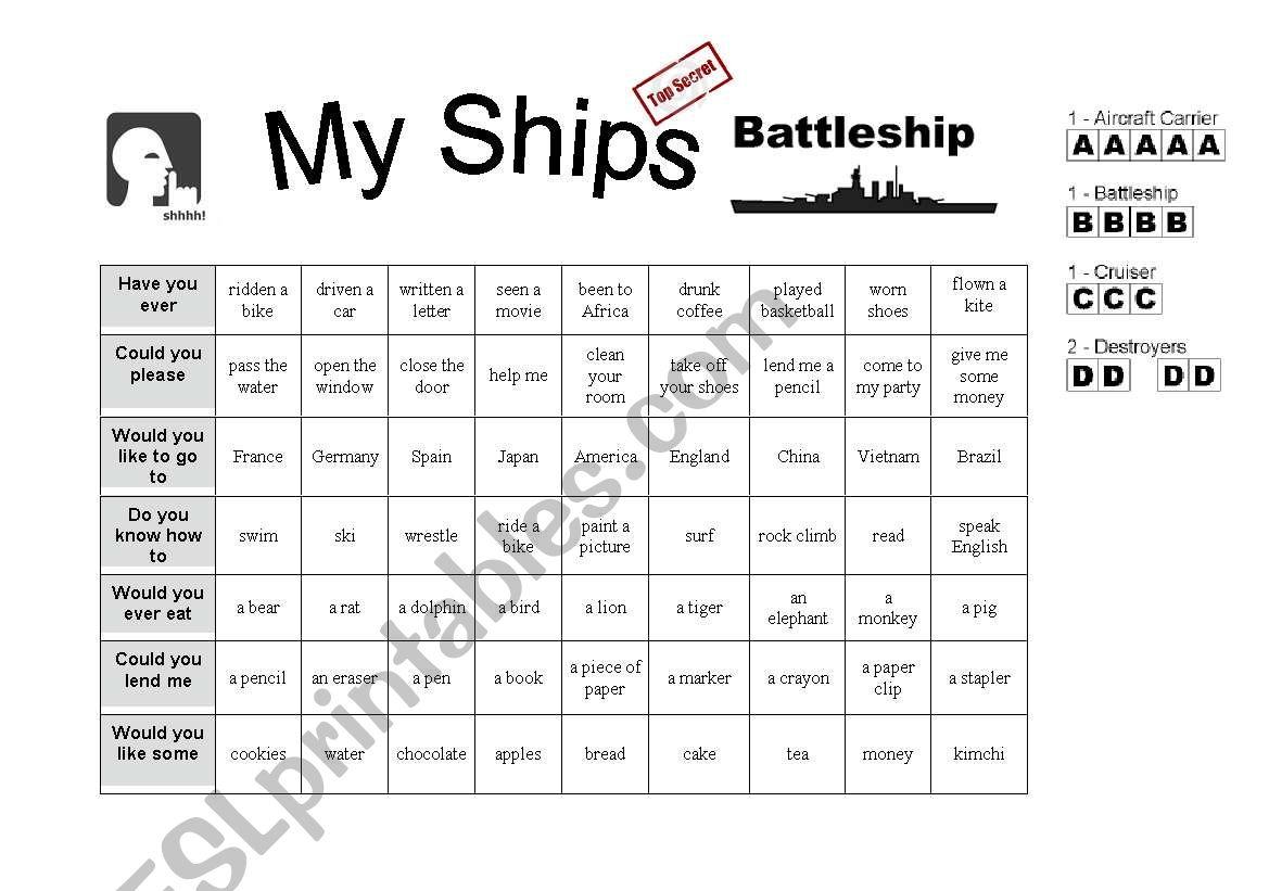 Battleship-- Asking Questions worksheet