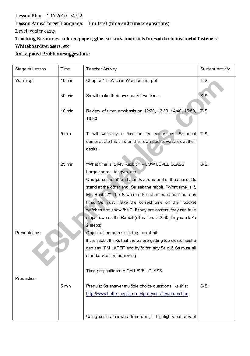 English worksheets: Alice in Wonderland Camp lesson plan day 2