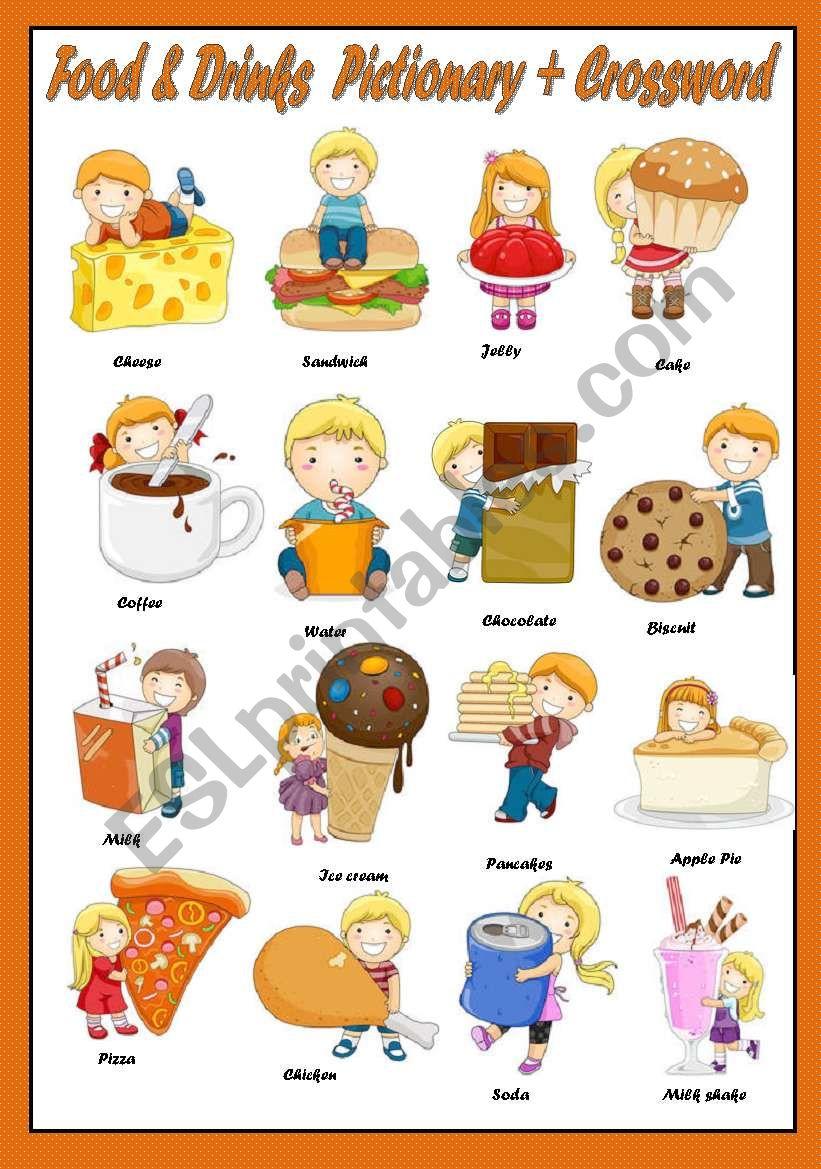 FOOD & DRINKS - PICTIONARY + CROSSWORD