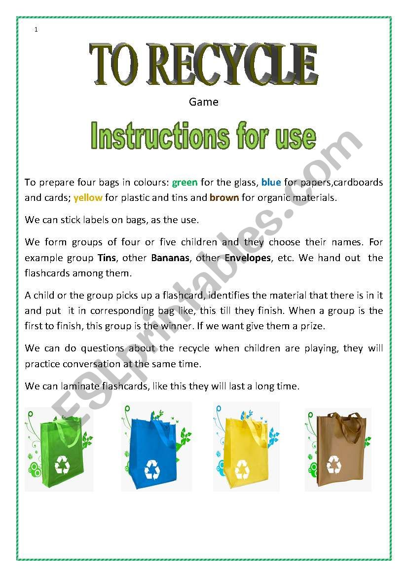 To Recycle worksheet