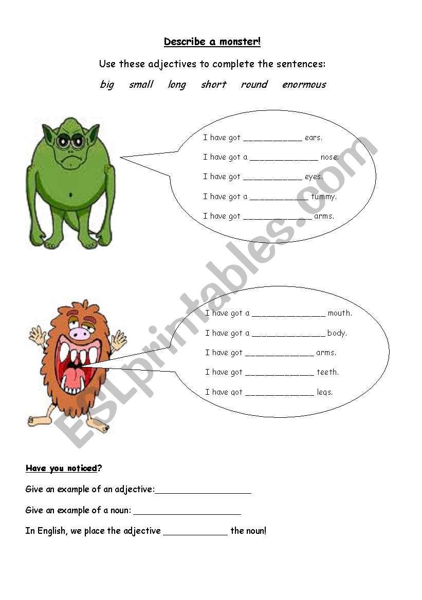 Describe a Monster worksheet