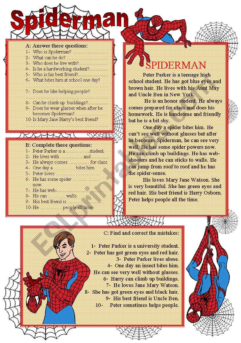 SPIDERMAN - READING + COMPREHENSION QUESTIONS (The Simple Present Tense) (editable)