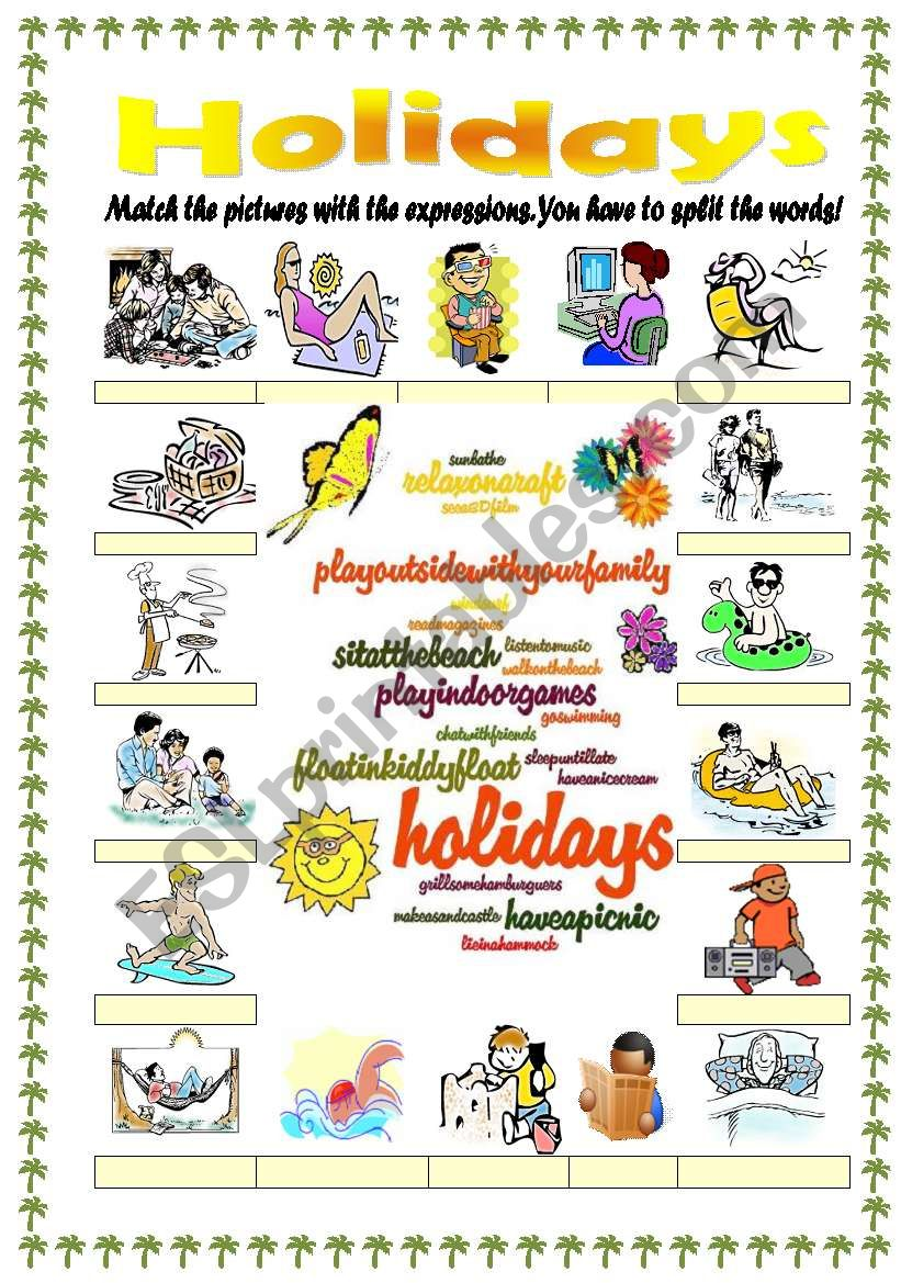 Holidays / vacations vocabulary (word mosaic included ...