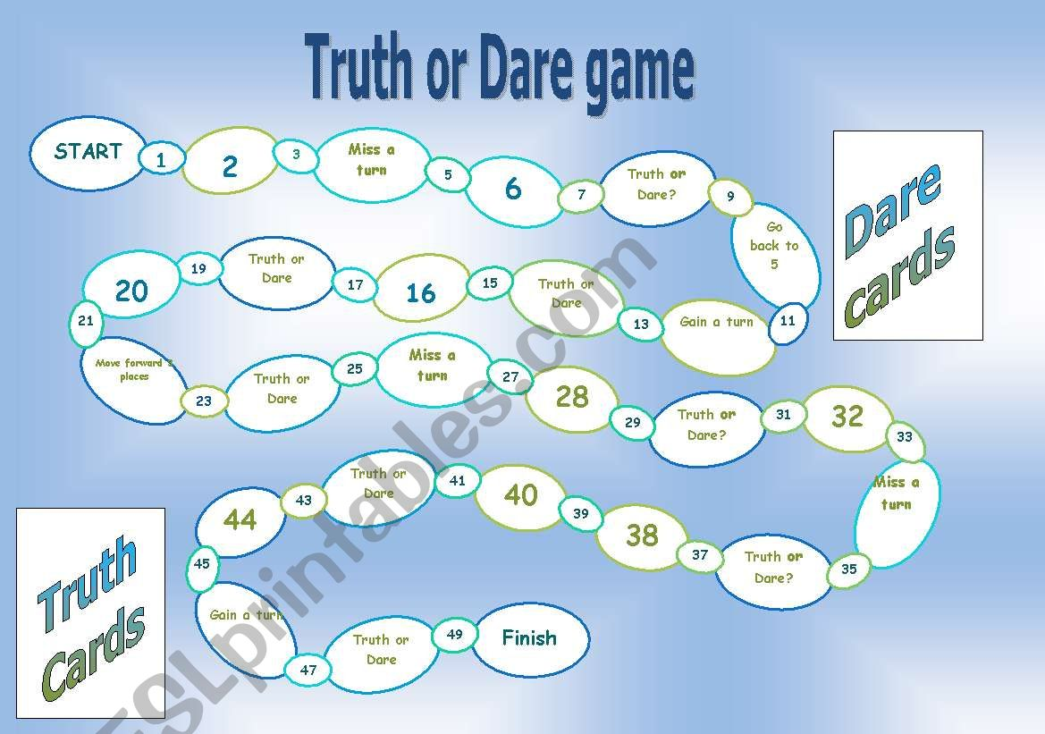 Truth Or Dare Board Game Worksheet