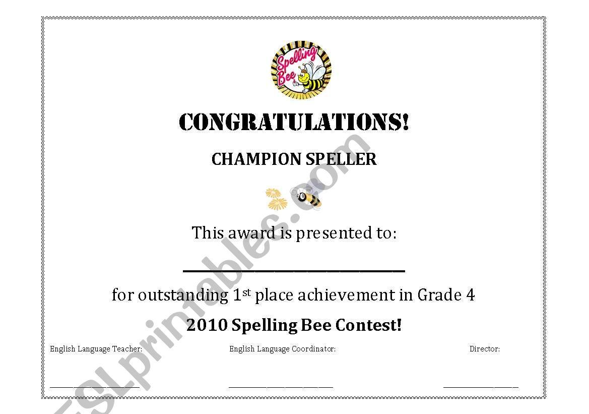Spelling Bee Certificateaward Esl Worksheet By Yaacoubhammoud
