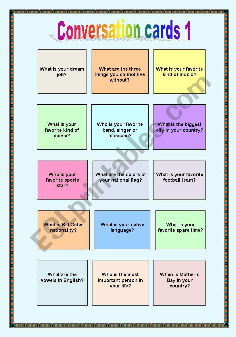 Conversation cards 1 - Wh-questions + to be - ESL worksheet