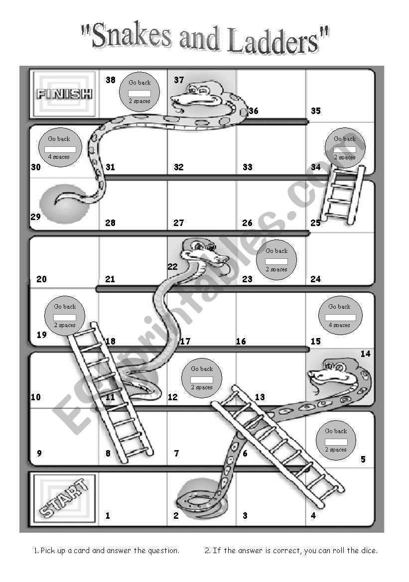 Snakes and Ladders boardgame worksheet