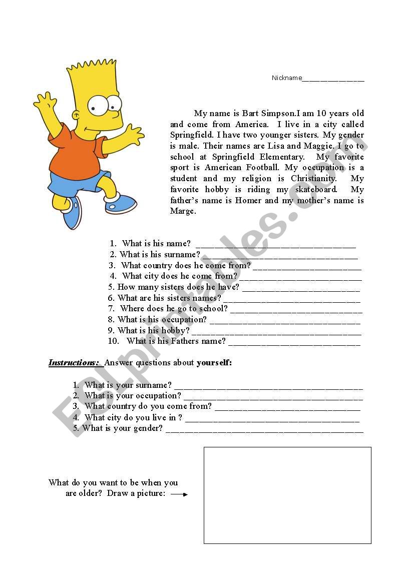 reading exercise with personal information  bart simpson