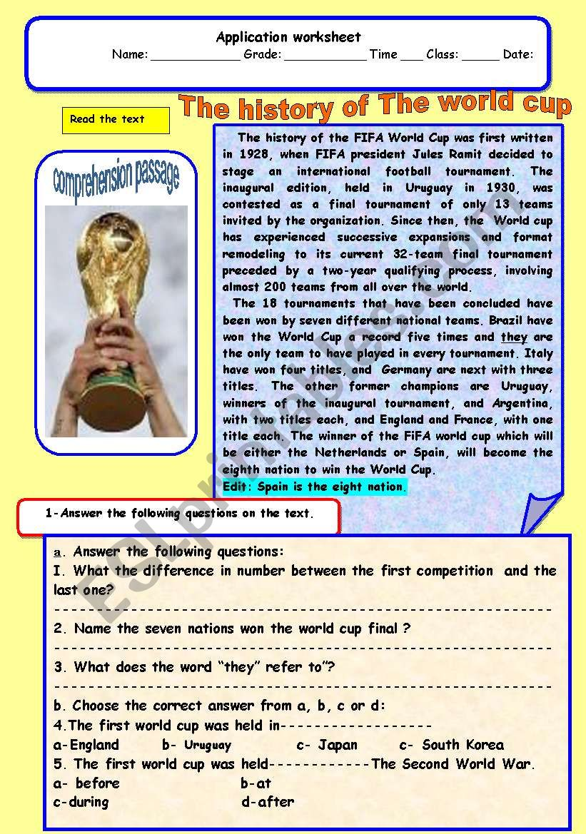 History of the word cup worksheet