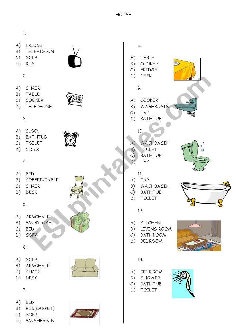 esl vocabulary exercise the house pdf