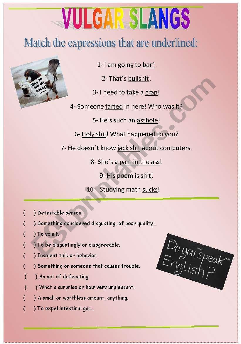 VULGAR SLANG worksheet