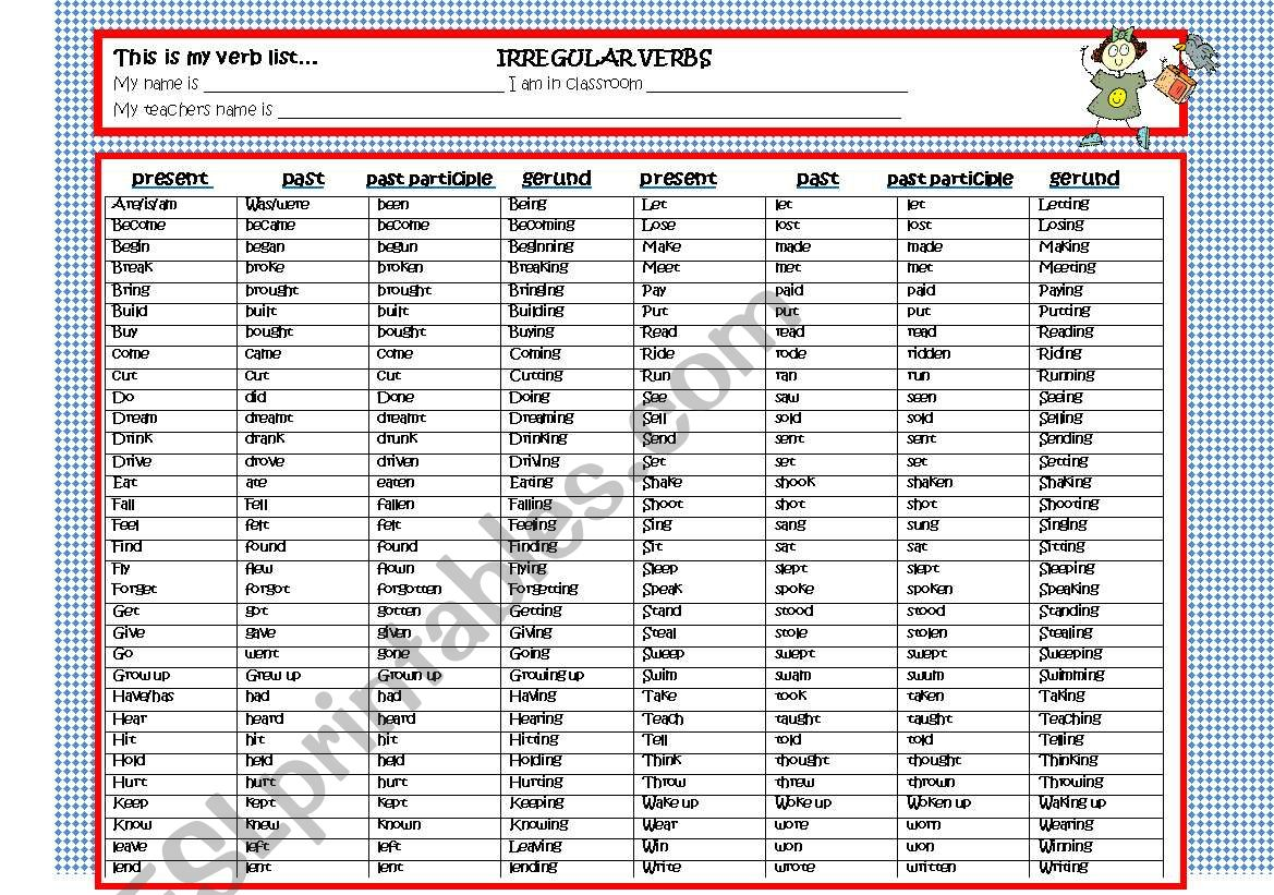 2 sided regular and irregular verb list