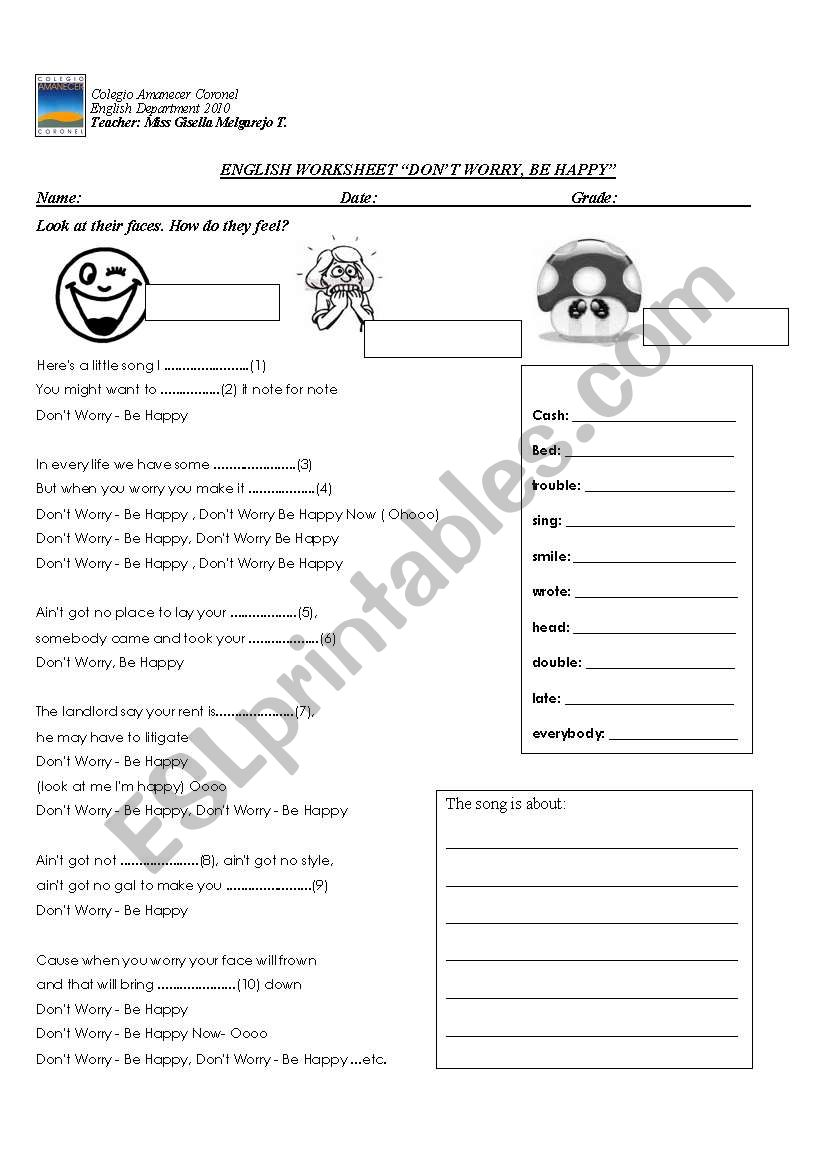 don´t worry, be happy worksheet