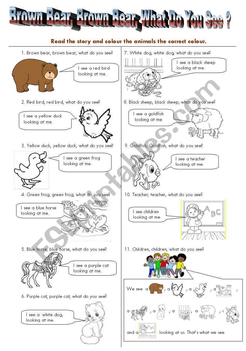 Brown Bear Read/Colour worksheet