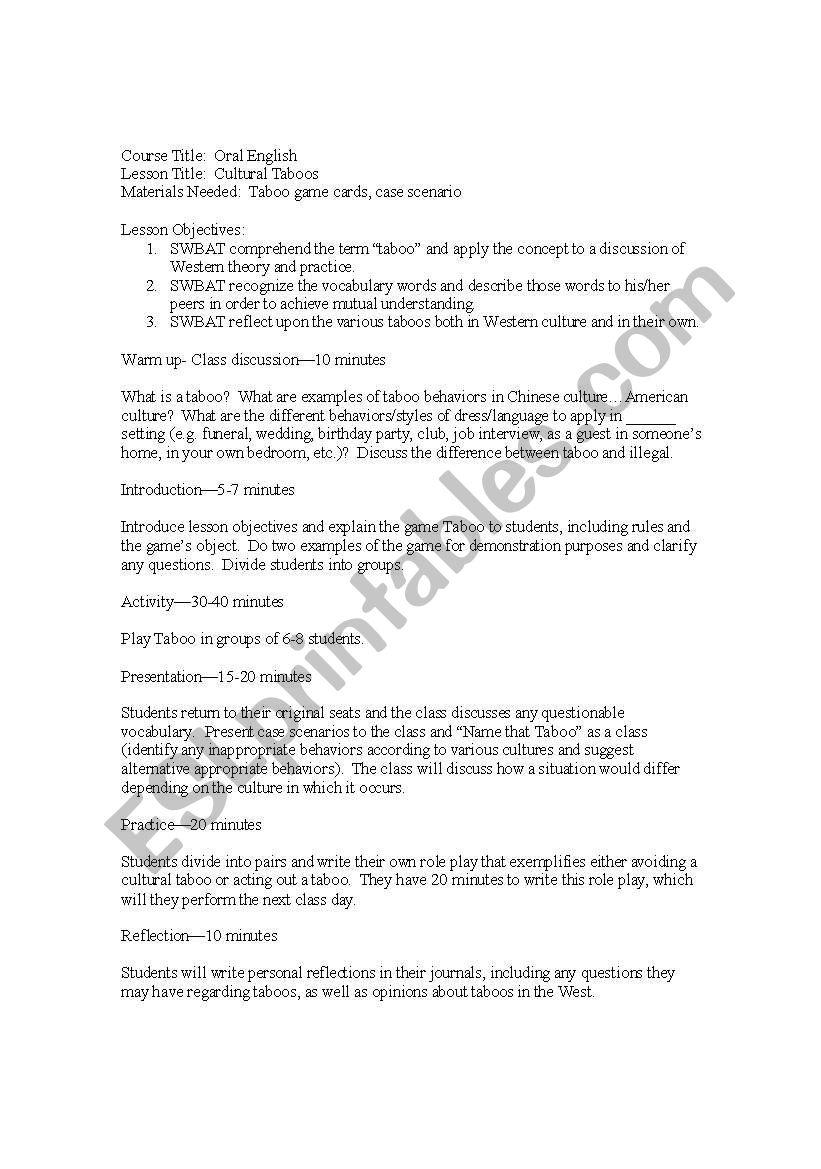 english worksheets taboo
