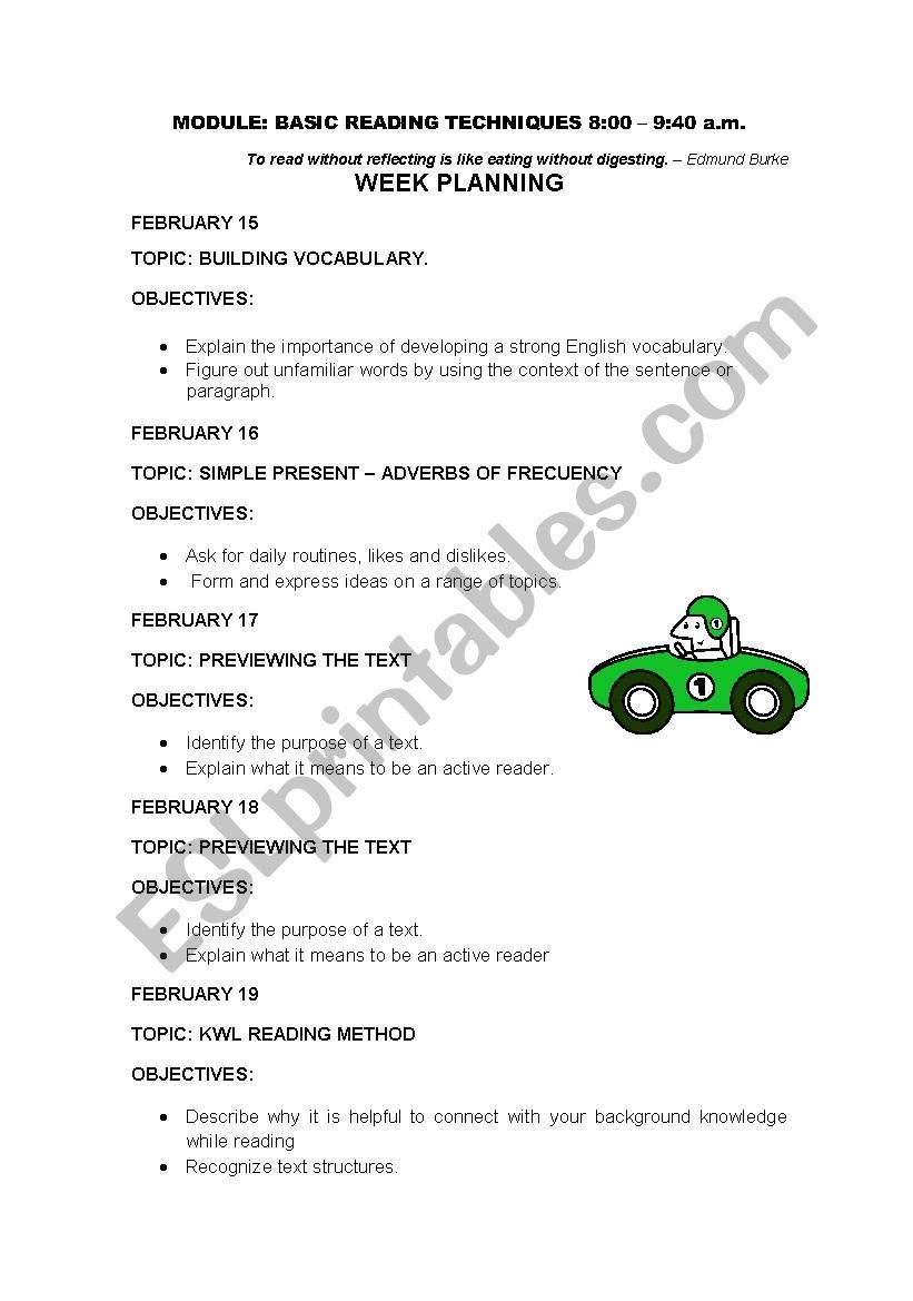 WEEK PLANING worksheet