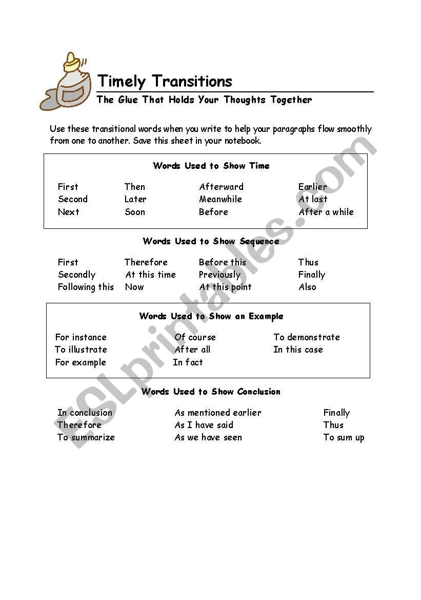 worksheet Transition Words Worksheet english worksheets transition words worksheet