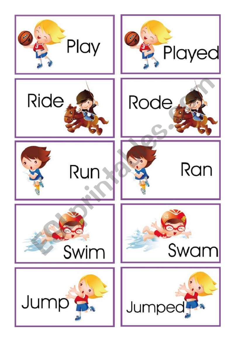 Memory game: verbs in present and past