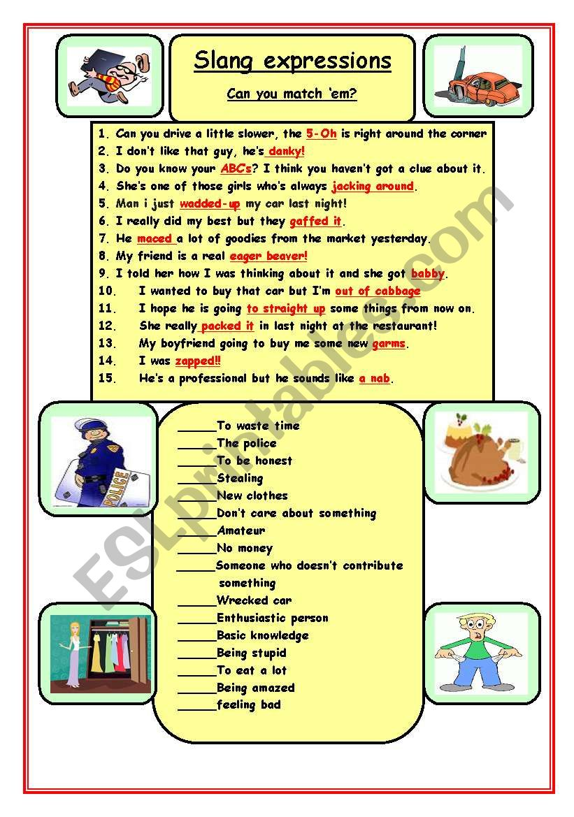 Slang expressions worksheet