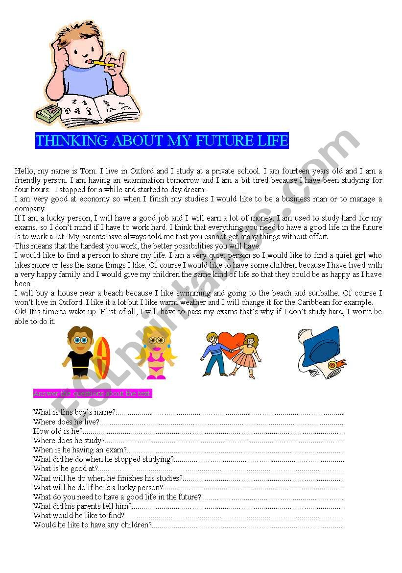 THINKING ABOUT MY FUTURE LIFE  READING  - ESL worksheet by