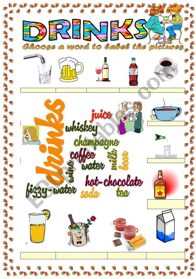 Drinks vocabulary (word mosaic vocabulary)
