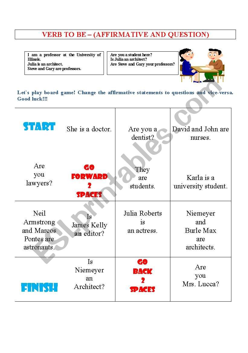 BOARD GAME WITH VERB TO BE worksheet