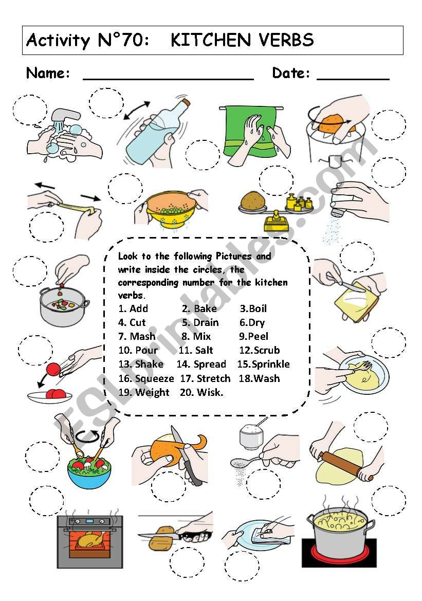 Kitchen verbs worksheet