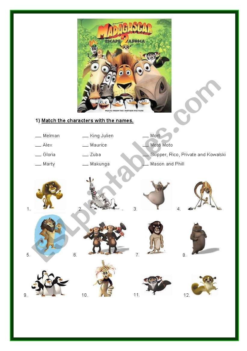 Madagascar 2 - Movie worksheet - ESL worksheet by violeta8l8