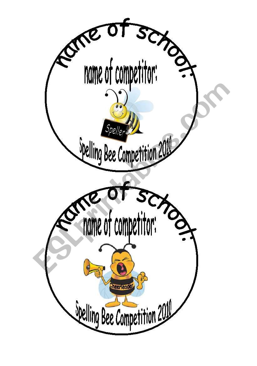 Spelling Bee name cards 2 pages