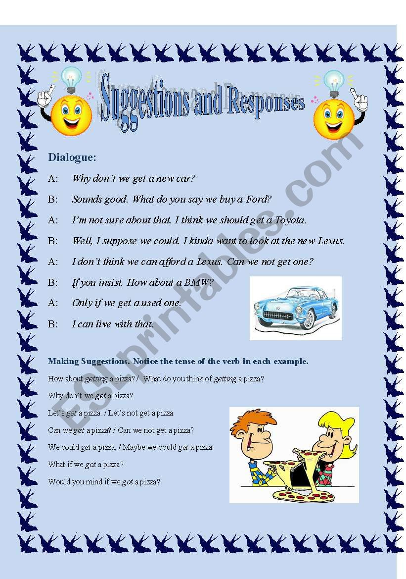 Suggestions and Responses--(Conversation Choices) >2-pages *Fully Editable*