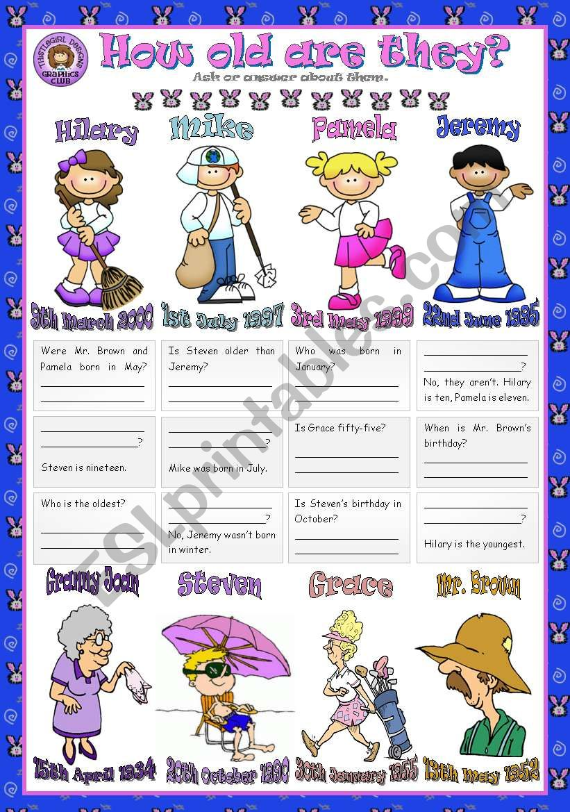 HOW OLD ARE THEY? worksheet