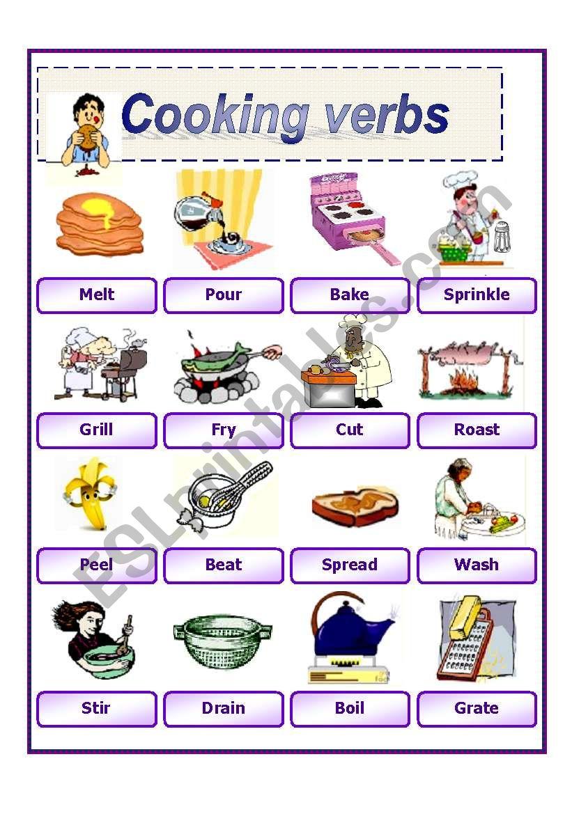 cooking verbs 2 worksheet
