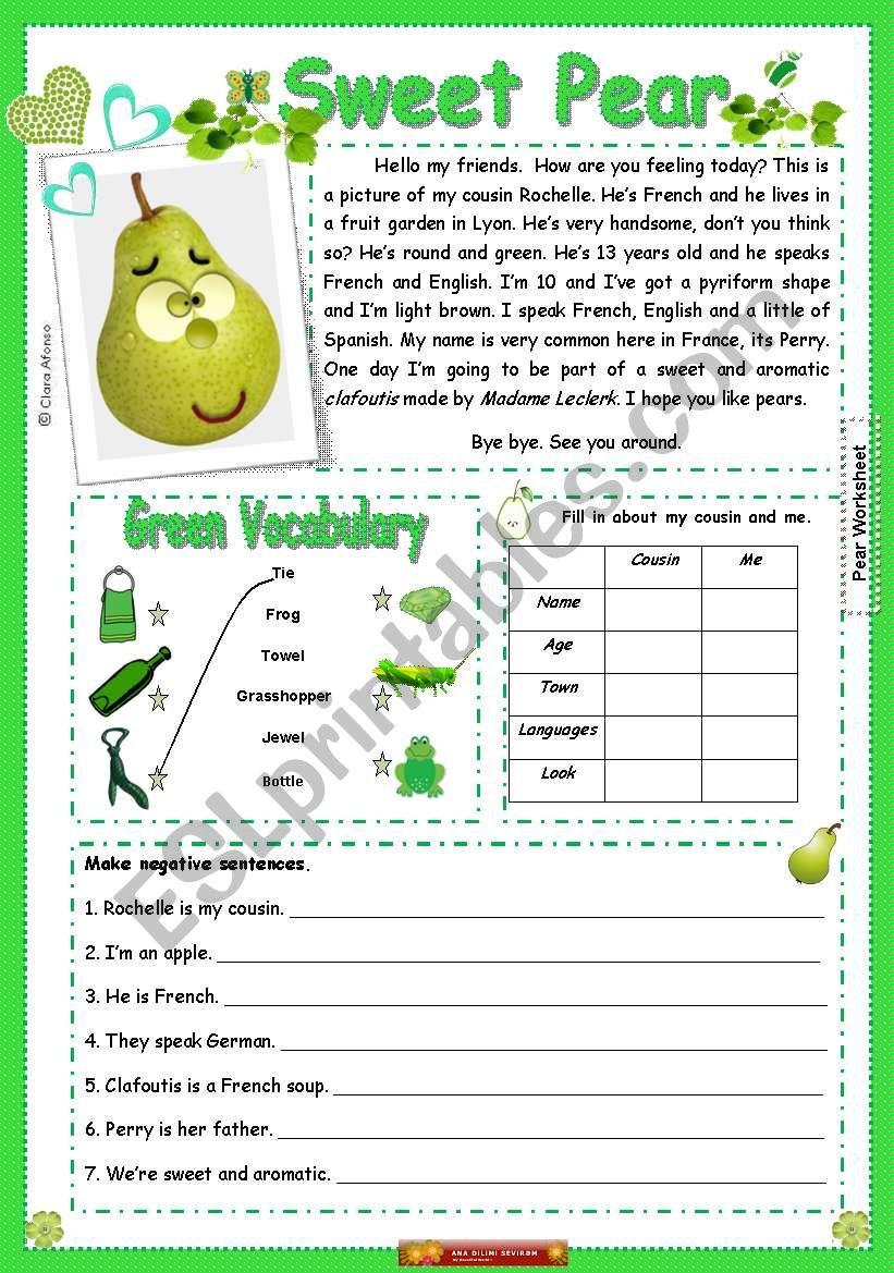 Sweat Pear worksheet