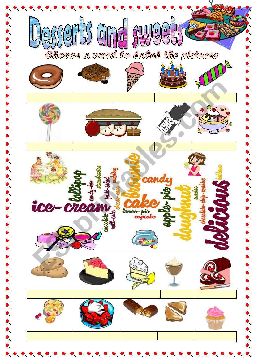 Desserts and sweets vocabulary (word mosaic included)