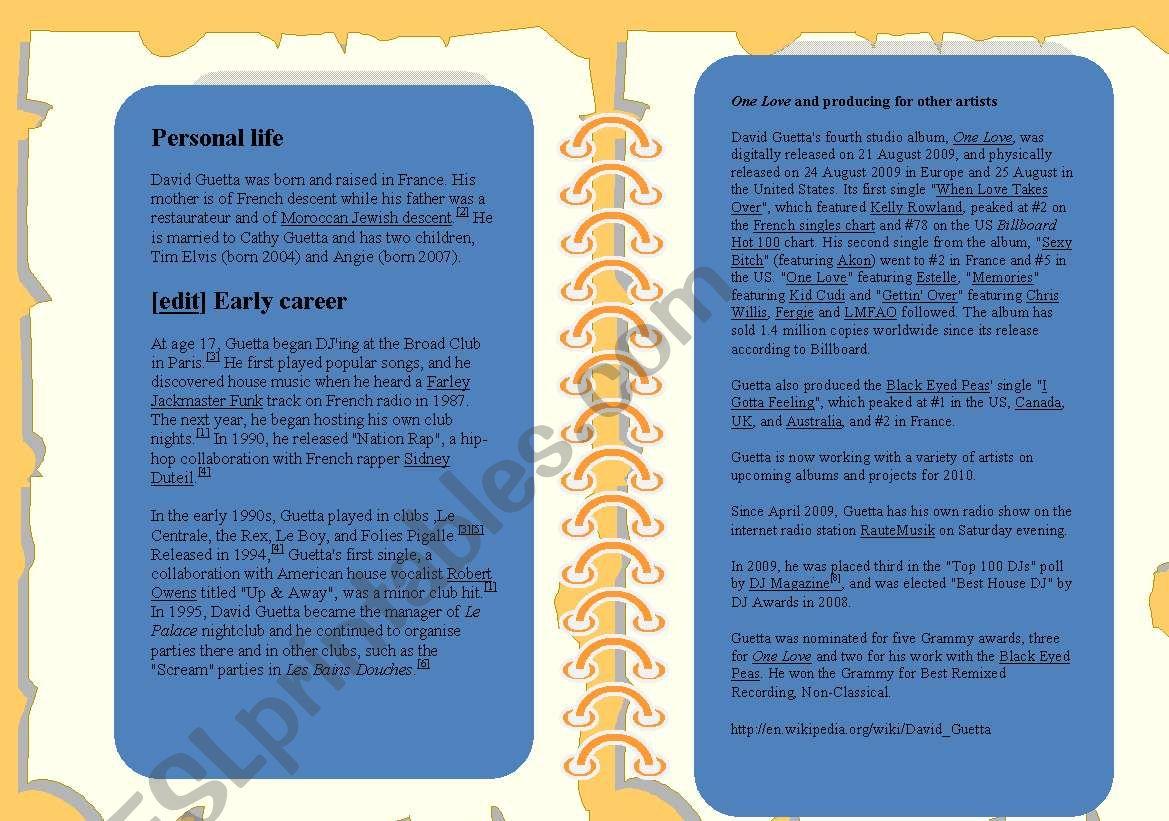 SONG: ONE LOVE BY DAVID GUETTA FEAT  ESTELLE - ESL worksheet
