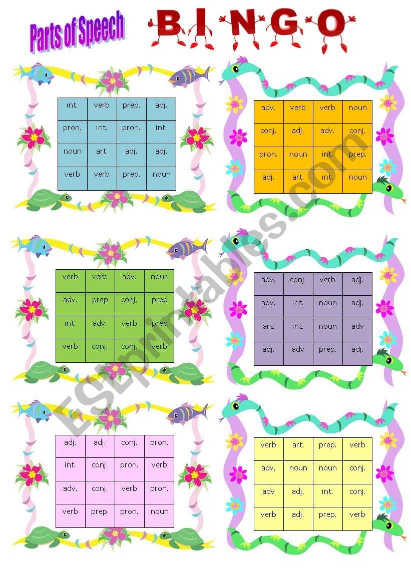 Parts of speech bingo - ESL worksheet by wendyinhk