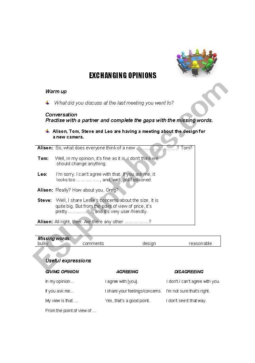 Exchanging Opinions worksheet