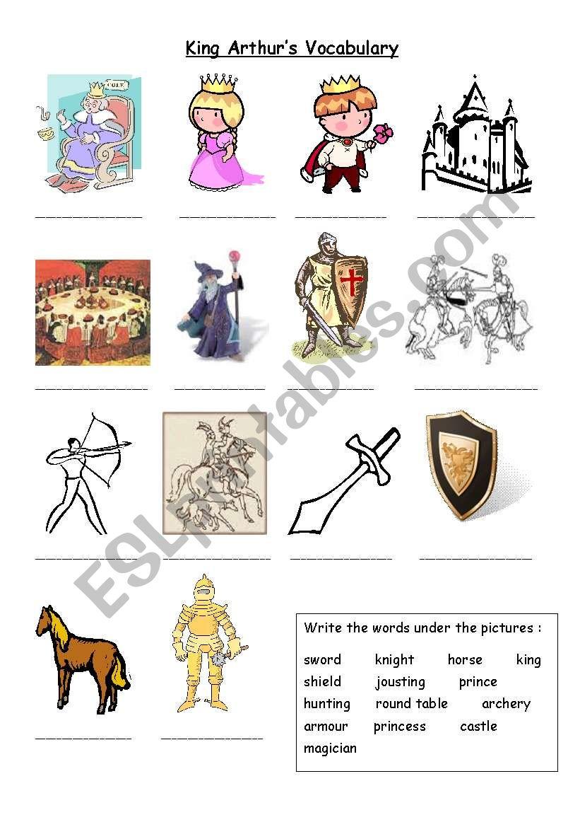 King Arthur´s Vocabulary worksheet