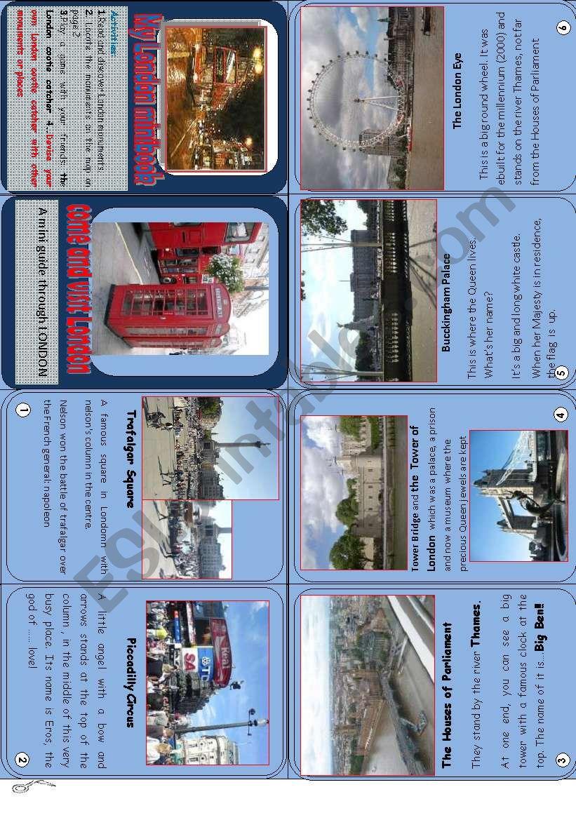 My London minibook  worksheet