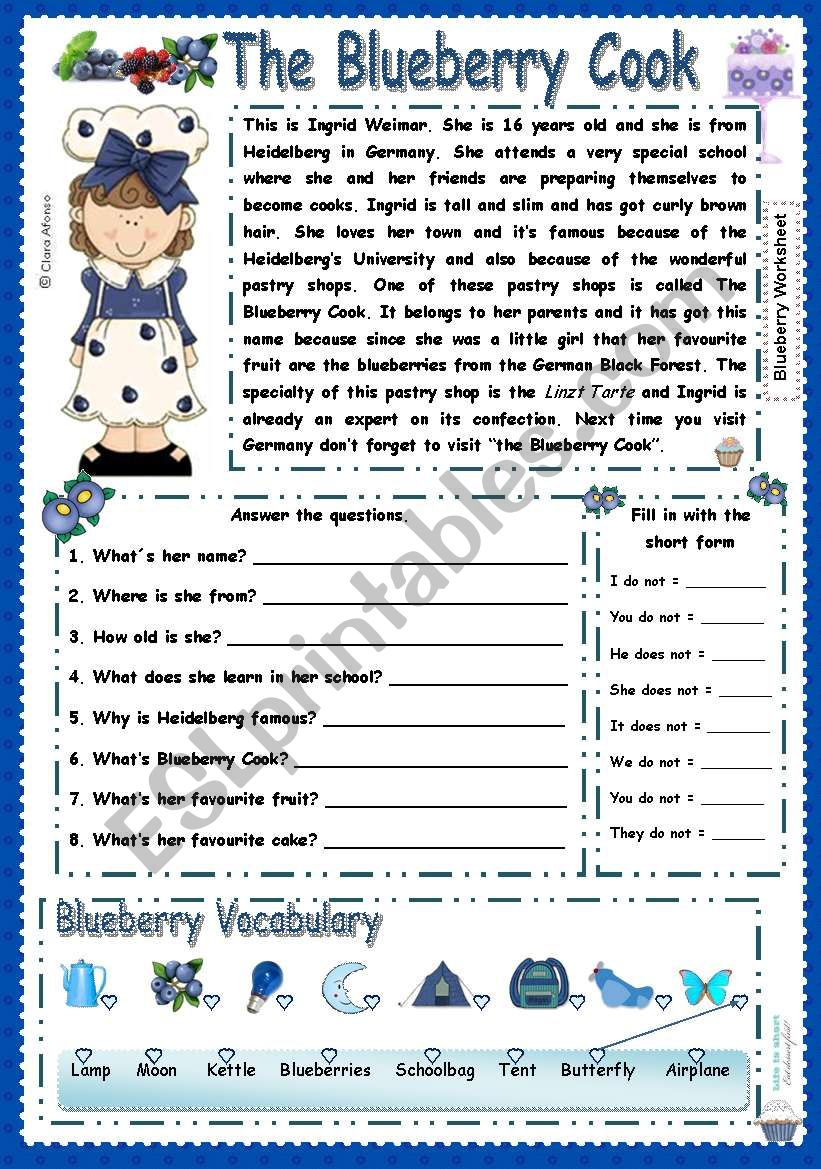 The blueberry Cook worksheet