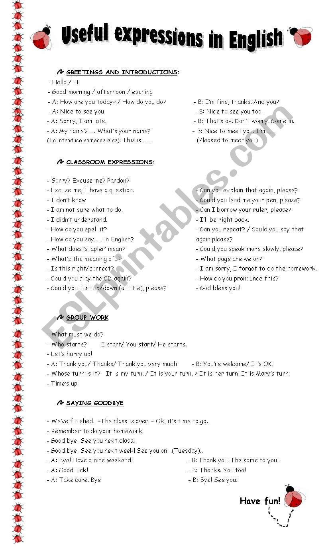 Greetings Classroom Language And Saying Goodbye Esl Worksheet By
