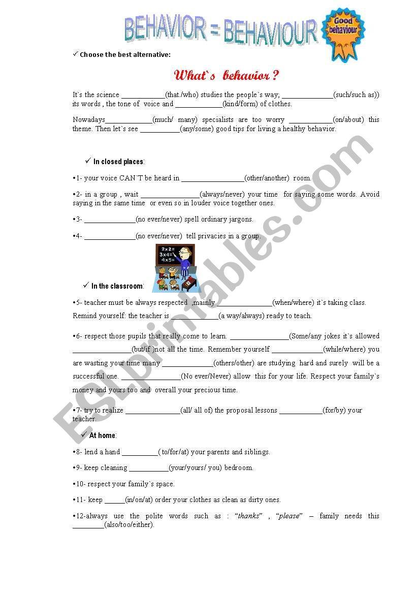 Tips for good behavior worksheet