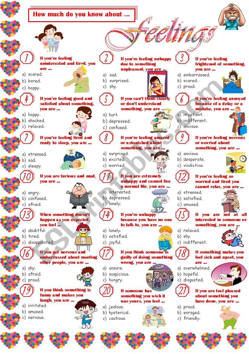 Feelings-Quiz worksheet