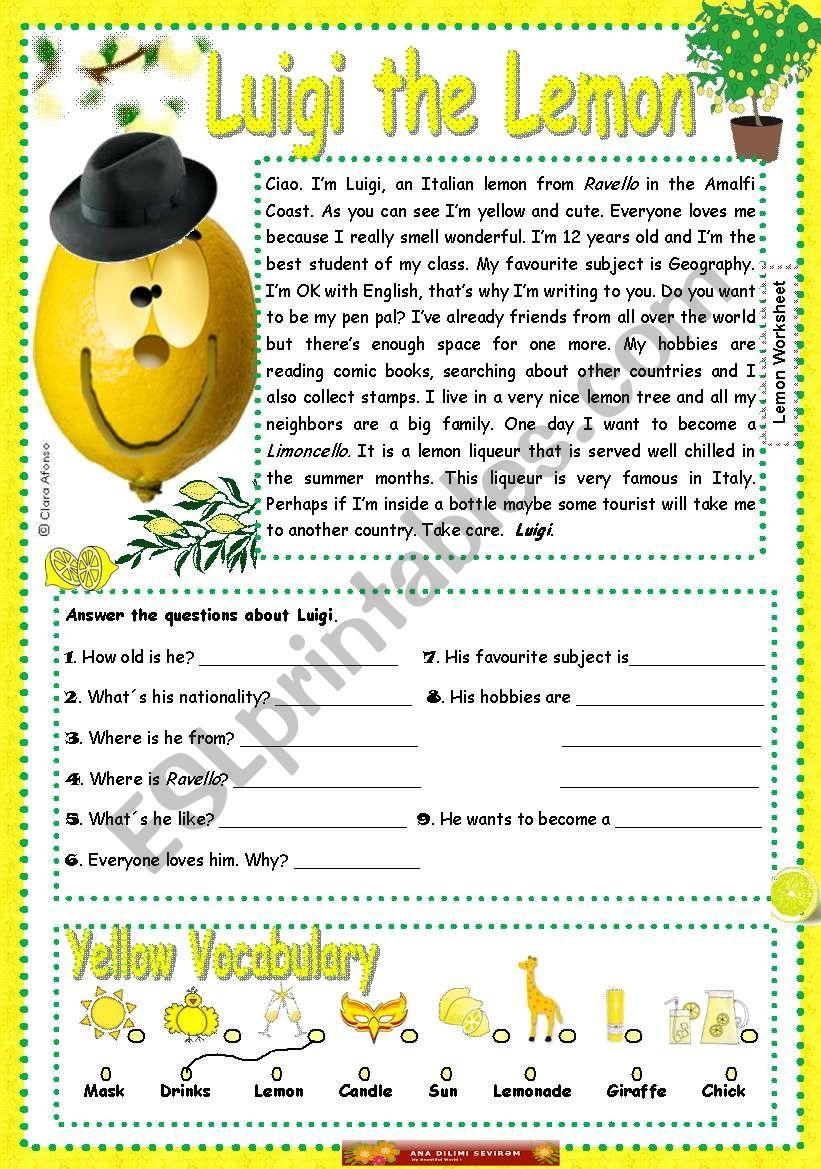 Luigi the lemon worksheet