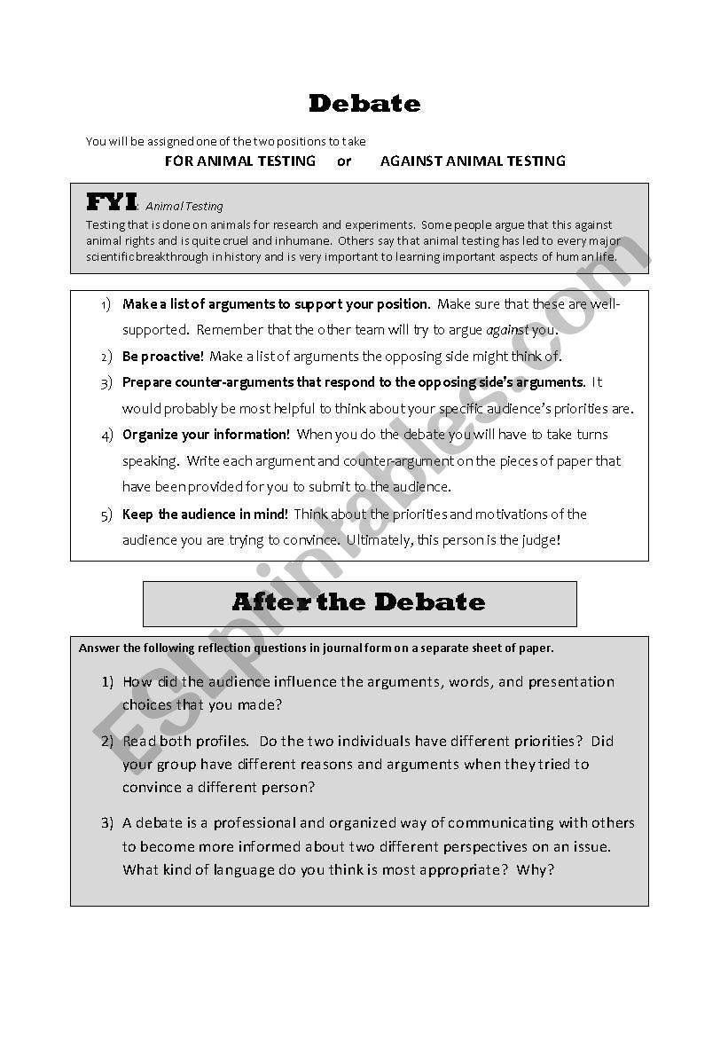 Speaking/Writing Activity:  Debate on Animal Testing