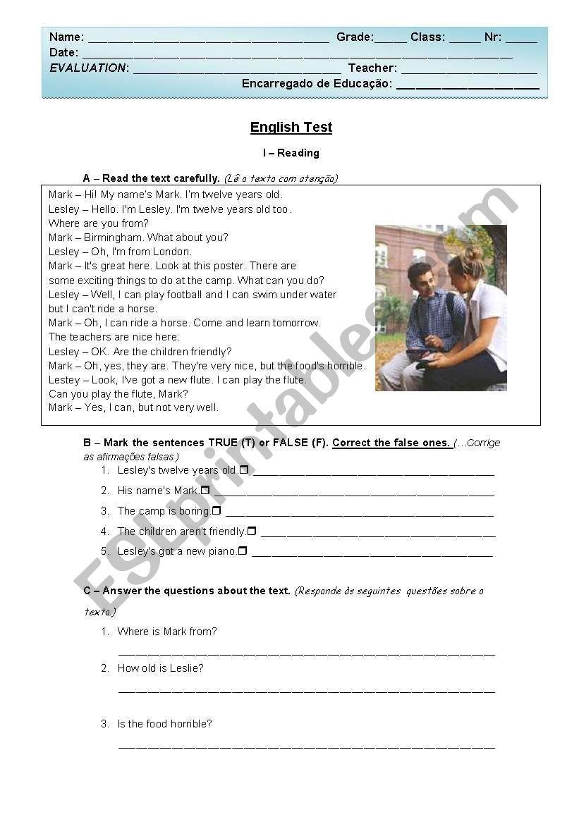 English Test - 5th grade worksheet