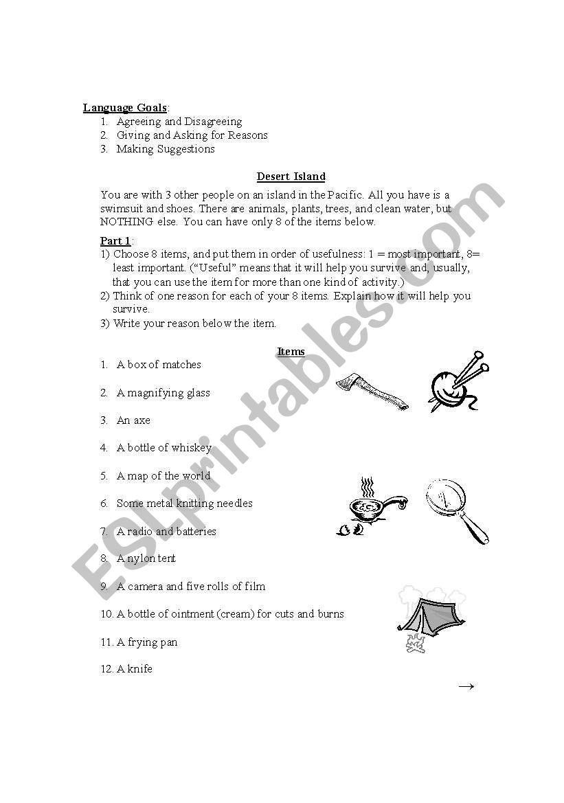 Desert Island worksheet